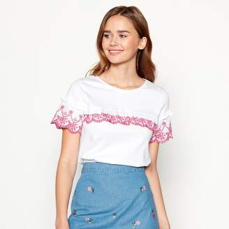 Red Herring White Floral Broderie Anglaise Top