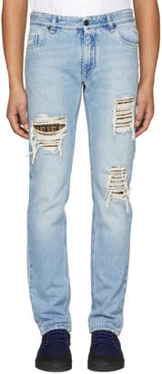 Fendi Blue Slim FF Logo Jeans