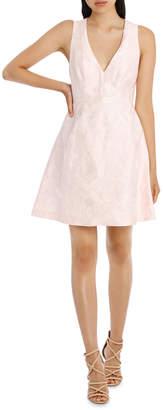 Deep V Box Pleat Jacquard Dress