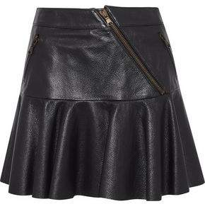 RED Valentino Fluted Pebbled-Leather Mini Skirt
