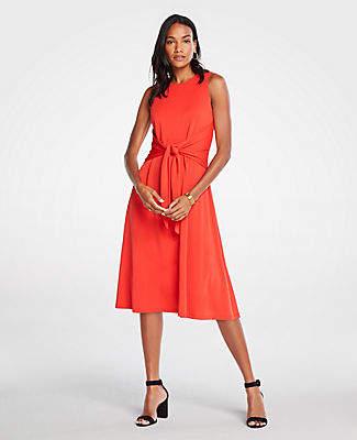 Ann Taylor Matte Jersey Tie Front Midi Dress