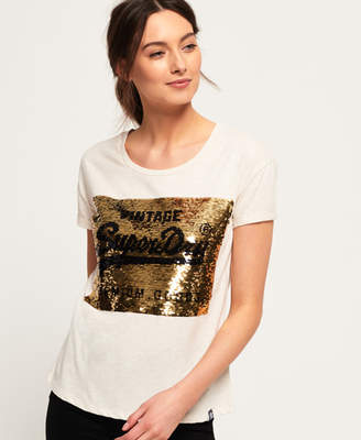 5f7e805631db2 Superdry Premium Sequin Slim Boyfriend T-Shirt