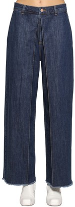 Aalto Fixed Pleats Raw Hem Wide Denim Jeans