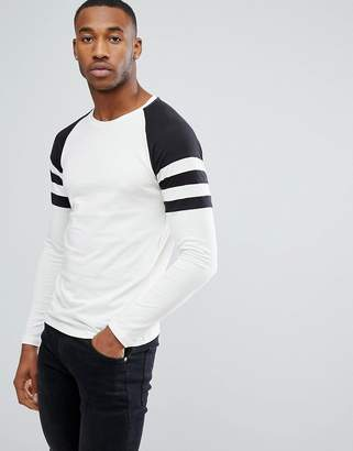 ONLY & SONS Raglan Long Sleeve T-Shirt With Contrast Stripe Sleeve Detail