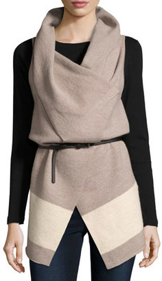 Joie Ligere Colorblock Belted Wool Vest $348 thestylecure.com