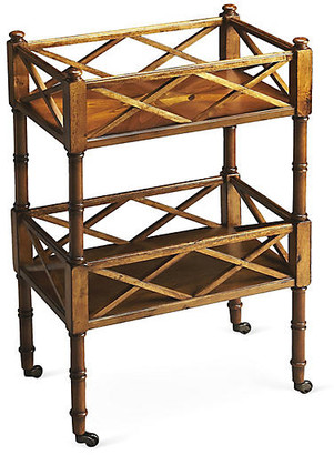 One Kings Lane Taylor Rolling Bar Cart - Wood/Brass