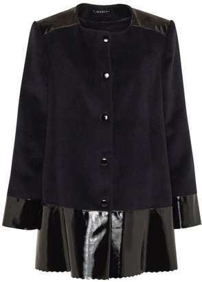 Manley Sadie Cashmere Wool & Leather Coat Black