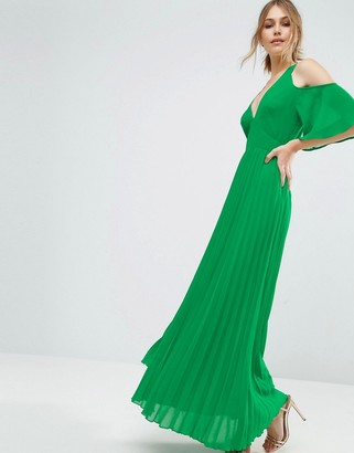 ASOS Cold Shoulder Pleated Maxi Dress $72 thestylecure.com