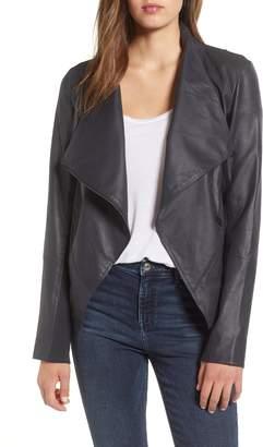 LAMARQUE Asymmetrical Zip Front Leather Cascade Jacket