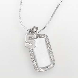 NCAA Logoart Michigan State Spartans Sterling Silver Cubic Zirconia Dog Tag Pendant
