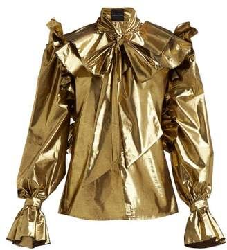 Harris Reed - Pussy Bow Metallic Blouse - Womens - Gold