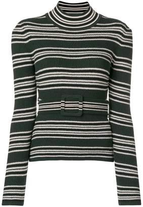 Fendi belted striped jumper
