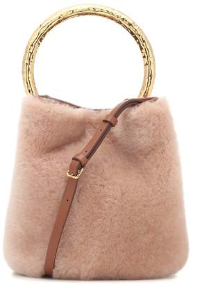 Marni Pannier Small shearling bucket bag