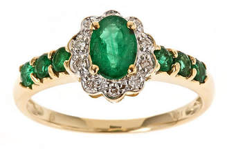 FINE JEWELRY LIMITED QUANTITIES! Womens 1/10 CT. T.W. Genuine Emerald 10K Gold Cocktail Ring
