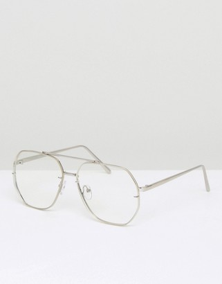 ASOS Aviator Glasses With Hexagon Clear Lens $19 thestylecure.com