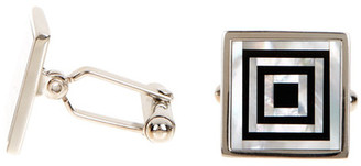 David Donahue Sterling Silver Onyx Mother of Pearl Square Cuff Links $195 thestylecure.com