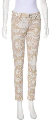 7 For All Mankind Seven Printed Mid-Rise Skinny Pants