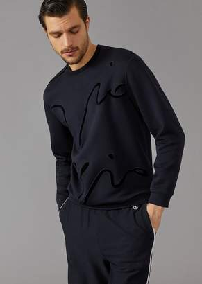 Giorgio Armani Sweatshirt In Micromodal Double Jersey With Velvet Embroidered Signature