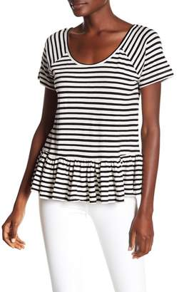 Lucky Brand Crisscross Back Striped Peplum Tee