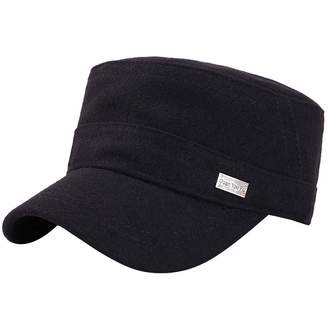 d24202a9dce Feisette Wool Mens Winter Warm Military Cap with Ear Flaps Flat Top Caps  Adjustable Winter Hats