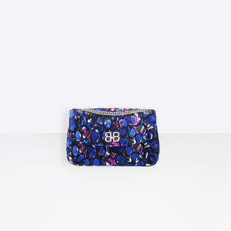 Balenciaga Velvet quilted floral print bag with chain strap