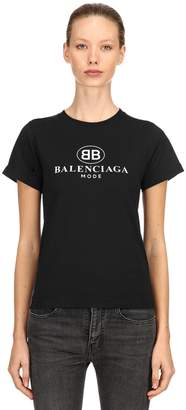 Balenciaga Slim Logo Printed Cotton Jersey T-Shirt