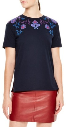 Women's Sandro Embroidered Crewneck Tee $110 thestylecure.com