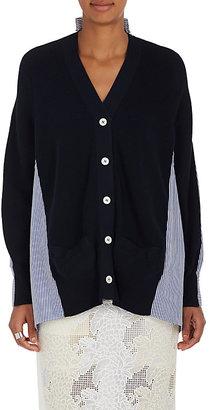 Sacai Women's Cotton Rib-Knit & Oxford Cloth Cardigan $615 thestylecure.com