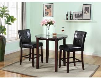 Roundhill Furniture Praia 3-Piece Artificial Marble Top Counter Height Set, Includes 1 Table and 2 Stools