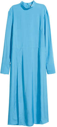 H&M Dress with Stand-up Collar - Blue