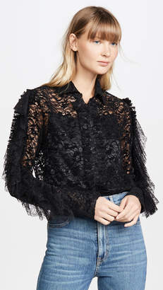 ANAÏS JOURDEN Black Velvet Lace Shirt with Ruffles