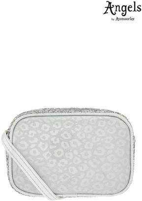 Angels By Accessorize Girls Angels by Accessorize Silver Leopard Glitter Across Body Bag - Silver