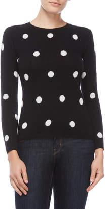 Qi Petite Cashmere Polka Dot Sweater