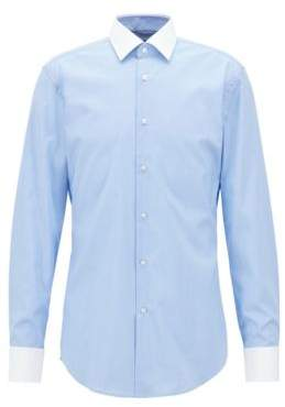 BOSS Hugo Slim-fit shirt in easy-iron micro-patterned cotton 14.5 Light Blue