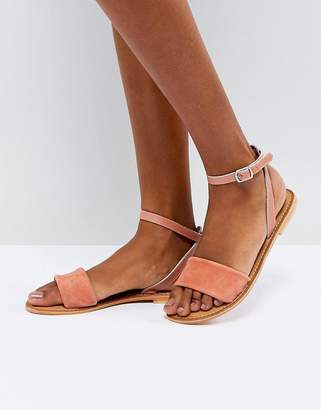 Asos Design FLORENCE Leather Flat Sandals
