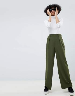 Asos DESIGN wide leg pants with pleat detail