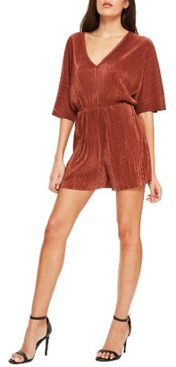 Women's Missguided Pleated Velvet Romper $72 thestylecure.com