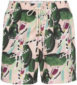 Trunks Timo leaf print drawstring swim shorts