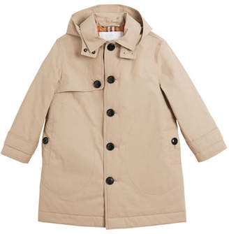 Burberry Bradley Hooded Trench Coat, Size 3-14