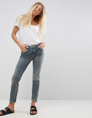 Asos DESIGN KIMMI Shrunken Boyfriend Jeans in Scout Green Cast with Rip and Repair