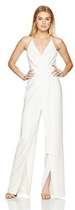 Halston Women's Sleeveless Deep V Neck Faux Wrap Jumpsuit with Sash