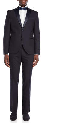 Kenneth Cole Reaction Navy Peak Lapel Tuxedo