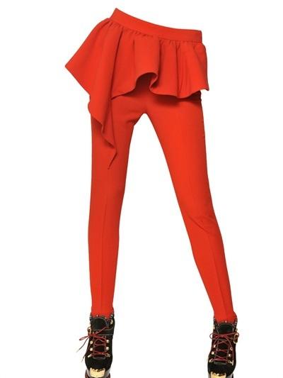 Moschino Ruffled Techno Crepe Trousers