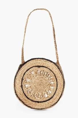 boohoo Trim Detail Cut Out Round Straw Bag