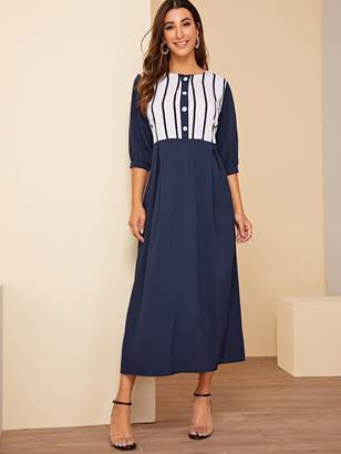Shein Color Block Button Half Placket Maxi Dress