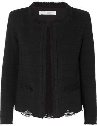 IRO Wondrous Distressed Cotton-blend Bouclé Jacket - Black