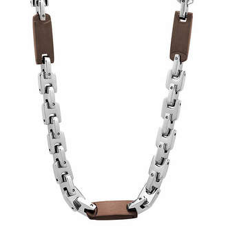 FINE JEWELRY Mens Two-Tone Stainless Steel 24 Chain Station Necklace