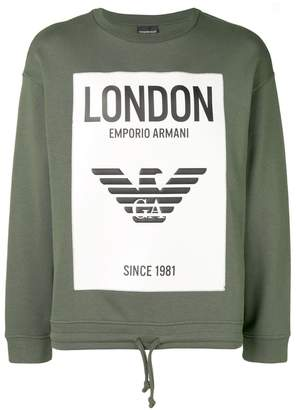Emporio Armani London drawstring hem sweatshirt