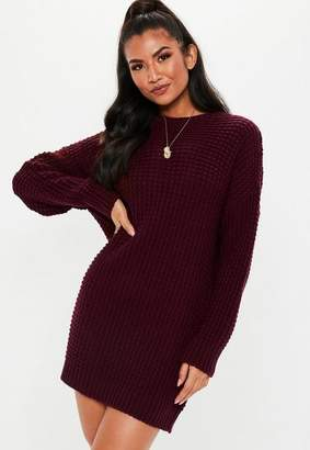 Missguided Burgundy Chunky Knit Sweater Dress