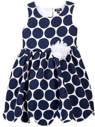 Zunie Sleeveless Pique Dot Scallop Hem Dress (Little Girls)